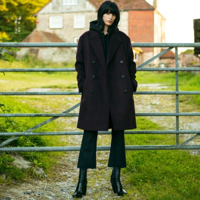 UNISEX CASHMERE OLSSON OVERSIZED COAT awa059(M.Wine)