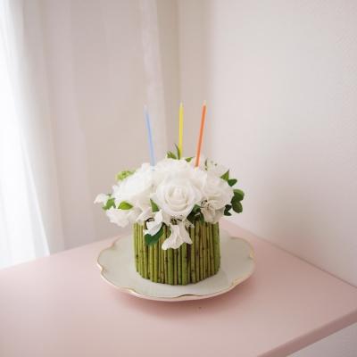 프리저브드 퓨어 화이트 플라워 케이크