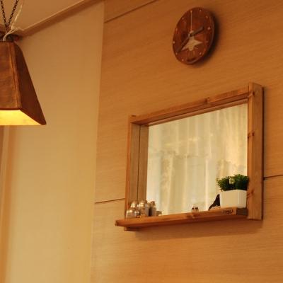 원목 선반 거울