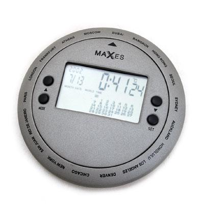maxes 여행용 원형 월드타임시계