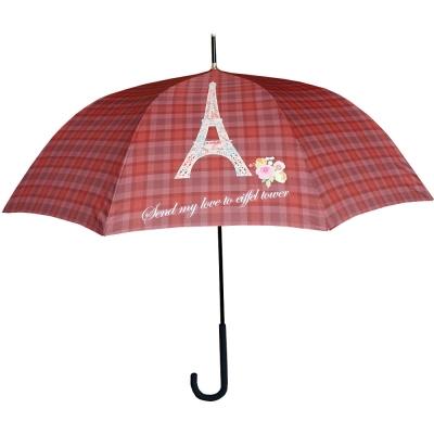 자동장우산 - 레드와인 체크