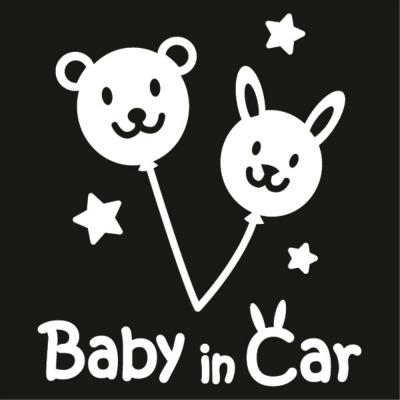 자동차스티커_버니곰_baby in car