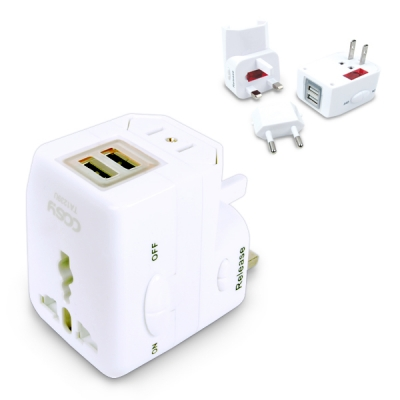 USB 2포트 여행용 아답터 (USB 2포트장착,휴대편리)