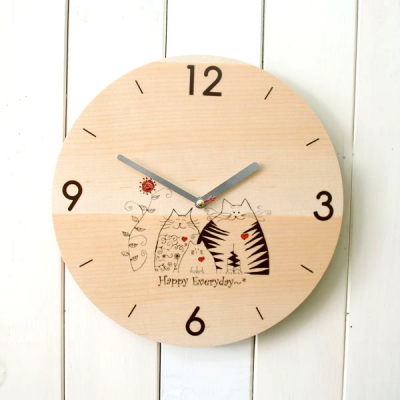 고양이가족원목시계
