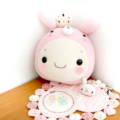 [DIY]핑크 꼬마토끼 쿠션 만들기 패키지-(솜포함)