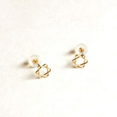 10k gold six point star earring