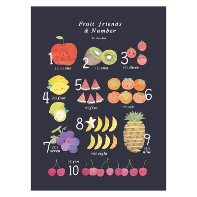 코니테일 포스터 - Fruit friends & Number (아이방꾸미기 학습벽보)