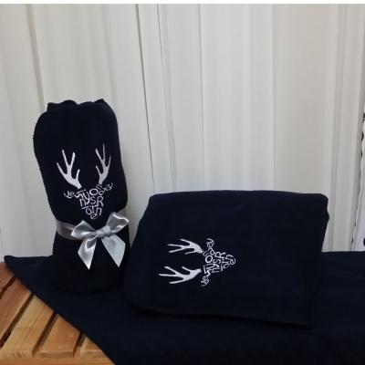 Navy initials deer blanket