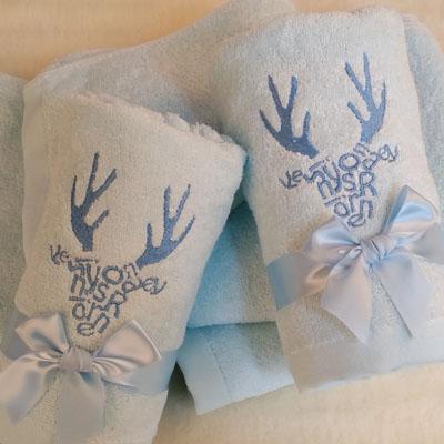 initials deer blue towel