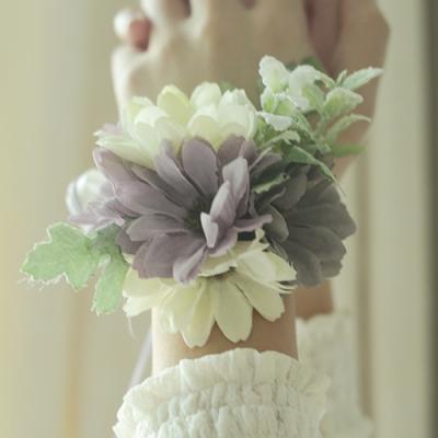 브라이덜샤워 꽃팔찌-데이지 크림바이올렛