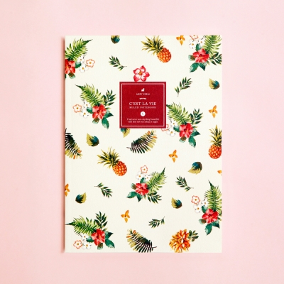 Summer Tropical Pineapple Ruled/Lined Notebook - Large Size