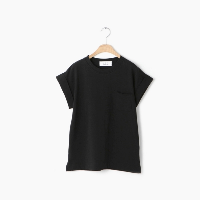 roll-up sleeve round T-shirt