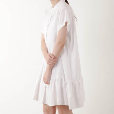 china collar button dress