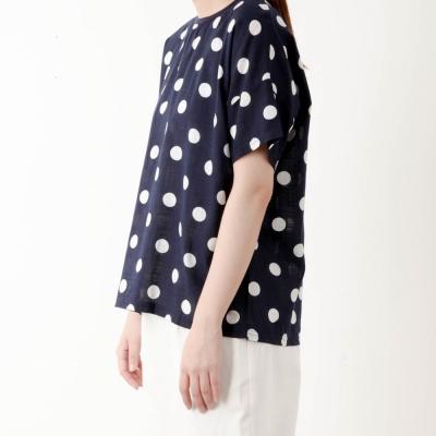 dot zipper blouse