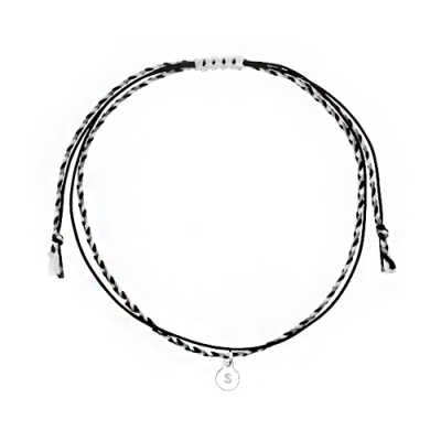 [RAINBOW발찌]92.5 Silver Initial Black Mix Misanga Anklet