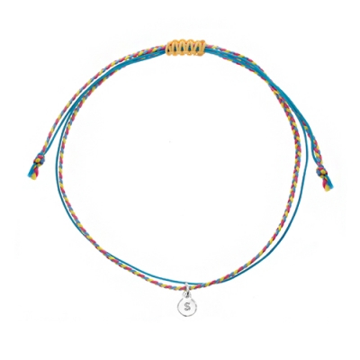 [RAINBOW발찌]92.5 Silver Initial Pastel Mix Misanga Anklet