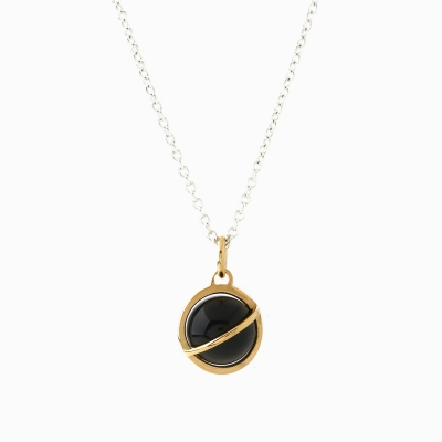 Medium Orbit Necklace - Black onyx/Sil chain