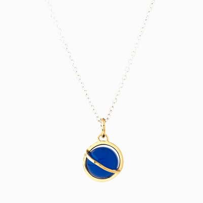 Medium Orbit Necklace - Blue agate/Sil chain