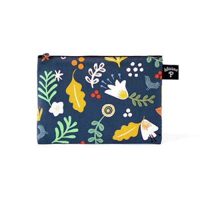 Floral-navy: Small Pouch