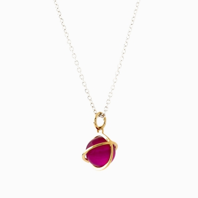 Medium Orbit Necklace - Synth ruby/Sil chain