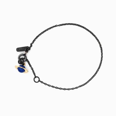 Small Planet Bracelet - Blue agate/Oxi chain