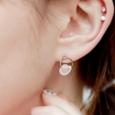 [쥬디앤폴] 린디 핑크 아게이트와 물방울 진주 귀걸이 E40733
