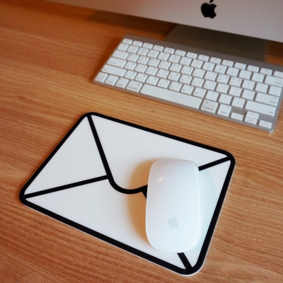 White Letter Mousepad