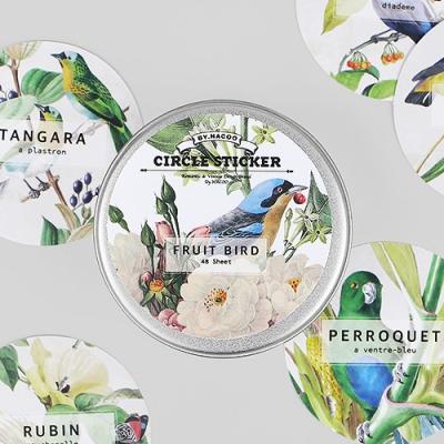 Circle Sticker Tin-06 Fruit Bird