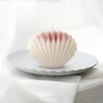 shell candle - ivory