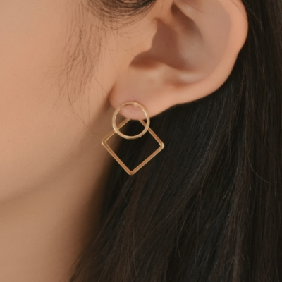 two type square dot earring