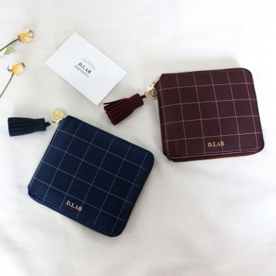 [스트랩 증정] D.LAB Check zipper wallet - 3color