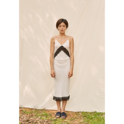 [closingment] viscose rayon slip dress - white