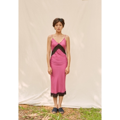 [closingment] viscose rayon slip dress - hot pink