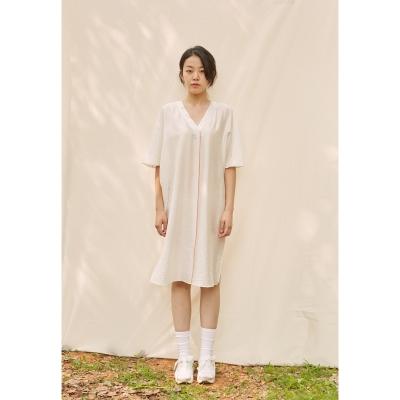 [closingment] viscose rayon v-neck dress - white