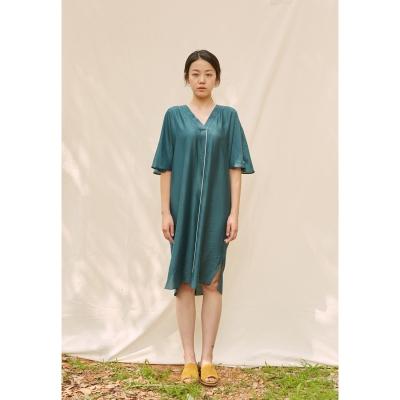 [closingment] viscose rayon v-neck dress - deep green