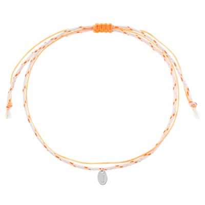 [Rainbow 발찌] 92.5 Silver Initial Orange Line Anklet