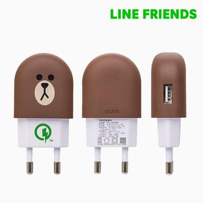 라인프렌즈 브라운 가정용 급속 충전기(Quick Charge 2.0)