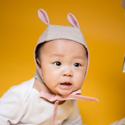 [꿈꾸는두부]스트라이프 토끼 핑크 동물보넷 아기모자(S/M)