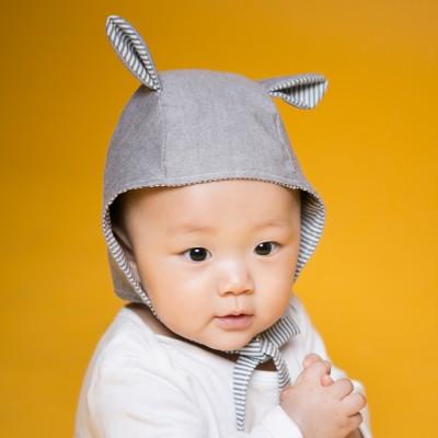 [꿈꾸는두부]스트라이프토끼(그레이) 동물보넷 아기모자(S,M)