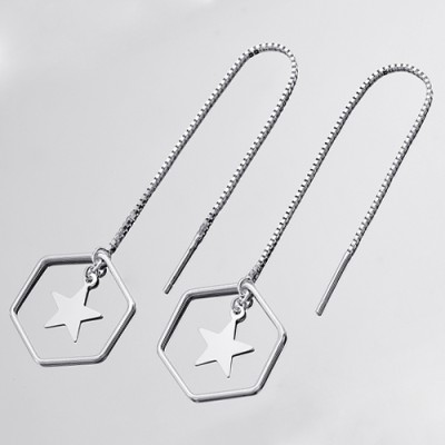 [92.5 silver]Silver Hexagon Star Drop Earring