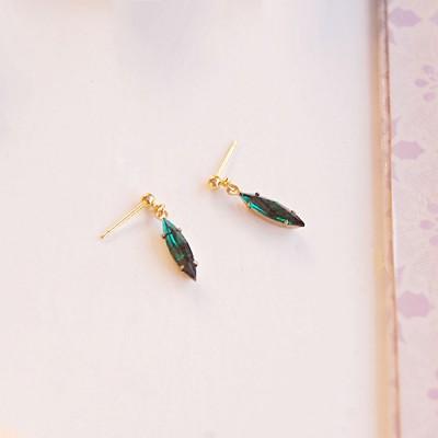 [하우즈쉬나우] 심플 그린 지르코니아 드롭 earrings
