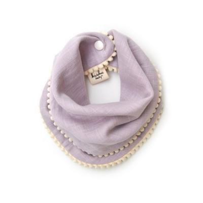 [kishu baby] 양면 스카프빕 Pom Pom Lavender + Sage green SET