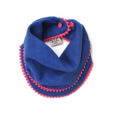 [kishu baby] 스카프빕 Pom Pom Blue + Khaki SET