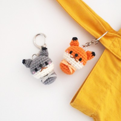 손뜨개 늑대,여우 인형 열쇠고리 키홀더 키링 가방걸이