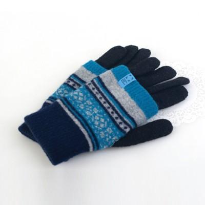 니트 보온 덮개 장갑 (블루)