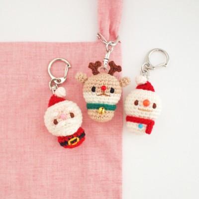 손뜨개 산타 눈사람 루돌프 크리스마스 인형 열쇠고리 키링