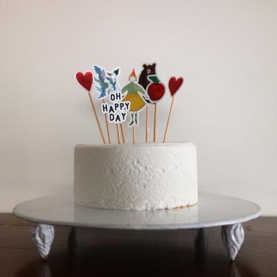 오 파티 케이크 토퍼-곰 소녀 거위 그리고 사과