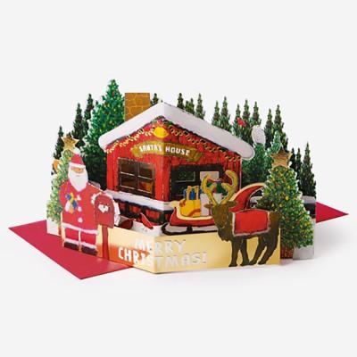 숲 속 산타 집 팝업 입체카드 (1개)