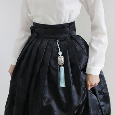 매화문 양단허리치마 [블랙]