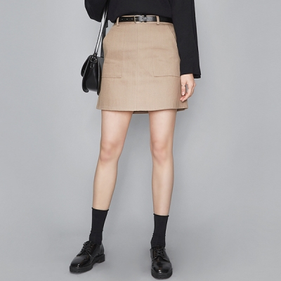out pocket half-banding skirt (2 colors)_(487399)